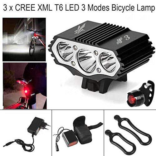 3 focos, 6000 Lumens, 4 Modos Luz LED Frontal para Manillar de Bicicleta ConstefireFire Linterna L/áMPARA para Bicicletas Bici CREE XM-L U2 /& 1 x Luz Luces L/ámpara Trasera para Bici Bicicleta