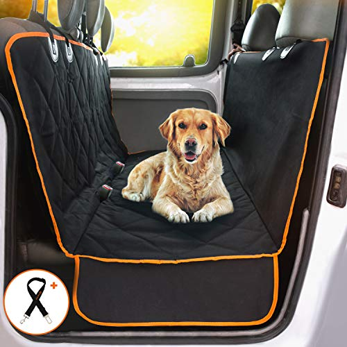 Doggie World Dog Car Seat Cover - XL Cars, Trucks and Suvs Luxury Full Protector, w/Extra Side Flaps, Seat Belt Openings - Hammock Convertible for Your Pet - Waterproof, Non-Slip - Machine Washable from Doggie World