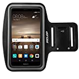 MELOP Armband for Huawei Mate 9 8 lite, Ascend Mate 7, Honor 5X 5C, Honor 6 7 8 6+ plus, P10 plus P9 P8 lite Soft Sweat Resistant Sports Gym Arm Band with Key Holder and Card / Cash Pocket - Black