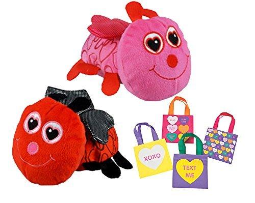 Valentines Day Love Bug - Valentine's Day Plush Stuffed Animal Love Bugs (Set of 2) Plus Bonus Conversation Heart Resuable Mini Tote Bags!