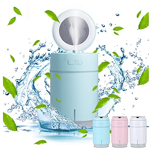 Mortilo New Style Beauty Humidifier, Mini Usb Desktop Makeup Mirror Humidifier, Personal Desktop Humidifier for Bedroom Travel Office Home, Auto Shut-Off, 2 Mist Modes, Super Quiet (Blue)