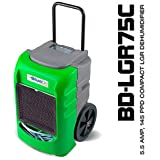 Green BlueDri 5.5 Amps 75PPD AHAM 145PPD Compact Low Grain Efficient Commercial Dehumidifier Designed for Water Damage and Construction Contractors