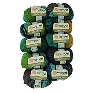 Bulk Buy Yarn Art Harmony 10-Ball Lot Medium #4 Worsted Wool Acrylic Blend (Harmony A4)