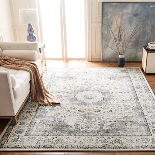 - Safavieh Evoke Collection EVK220B Vintage Oriental Grey and Gold Area Rug (5'1
