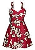 vintage swimsuit one piece hips support floral beachwear bathing dress speed dry swim skirts pattern bathing suit for the female,Maroon Floral,XX-Large / 12-14
