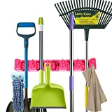YUL Broom Holder Mop,Broom,and Sports Equipment Storage Organizer, 5 Positions with 6 Hooks (Pink)