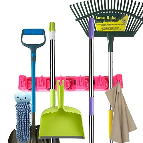 YUL Broom Holder Mop,Broom,and Sports Equipment Storage Organizer, 5 Positions with 6 Hooks (Pink) by Yulink