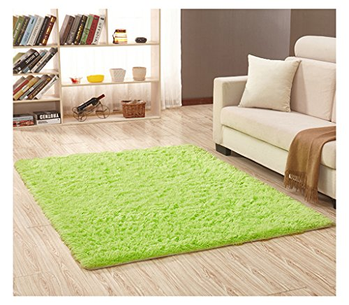 Plush Microfiber Area Rugs,Fluffy Long Fur Cozy Floor Carpet,Water Absorbent and Anti Slip Bath Mat,Decorative Solid Shaggy for Bedroom,Living Room,Sitting Room (Green1, 30'' x 46'') by KSDN