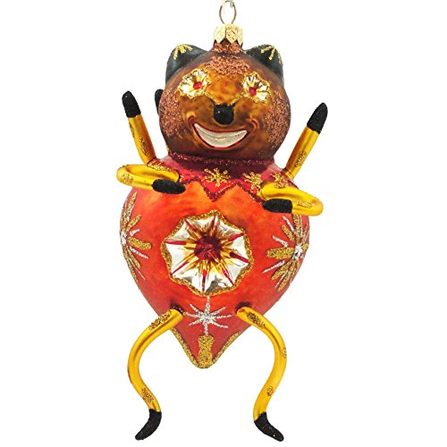 Larry Fraga ORANGE BUG Blown Glass Halloween Ornament Bug Bear SS0203
