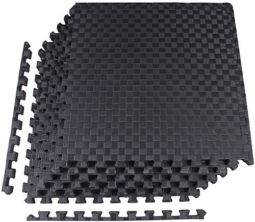 "BalanceFrom 1"" EXTRA Thick Puzzle Exercise Mat with EVA Foam Interlocking Tiles for MMA, Exercise, Gymnastics and Home Gym Protective Flooring (Black)"