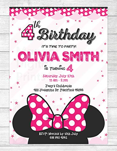 4th Birthday Invitations for Girls or teen Girls - 4th Birthday Invitation - Minnie Mouse Twodles Oh Toodles