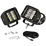LED Pods, OFFROADTOWN 2PCS 48W LED Cubes Work Light Driving Fog Lights Off Road Light Bar for Truck UTV ATV SUV Boat Jeep, 3 years Warranty