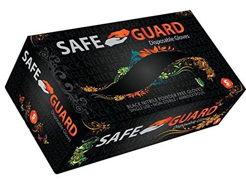 Safeguard, Nitrile Disposable Gloves, Powder Free, Industrial Grade Gloves, Latex Free, Dispenser Pack, Large Size, Black, 100 Pc