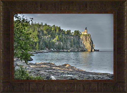Pictures Rock Split Lighthouse (In the Bay Light By Todd Thunstedt 17.5x23.5 Lake Superior Agate Lighthouse Sailing Tall Ship Ocean Sea Split Rock Two Harbors Edmund Fitzgerald North Shore Drive Duluth Portland Head Framed Art Print Wall Décor Picture)