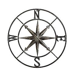 Creative Co-op Decorative Round Metal Compass Wall Décor, 30, Black