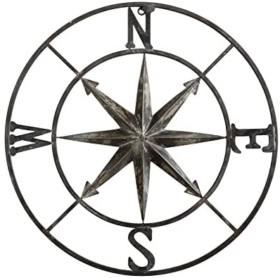 Creative Co-op Decorative Round Metal Compass Wall D cor, 30 , Black