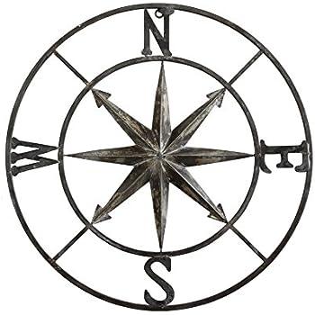 Creative Co-op Decorative Round Metal Compass Wall Décor, 30