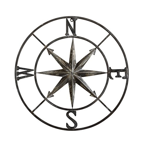 (Creative Co-op Decorative Round Metal Compass Wall Décor, 30 Inches, Iron)