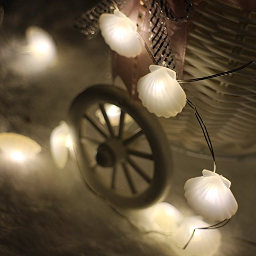 ER CHEN(TM) {Newest} 40 LED Sea Shell,10Ft Long Indoor&Outdoor Waterproof Battery Operated Silver Wire String Lights with Remote&Timer