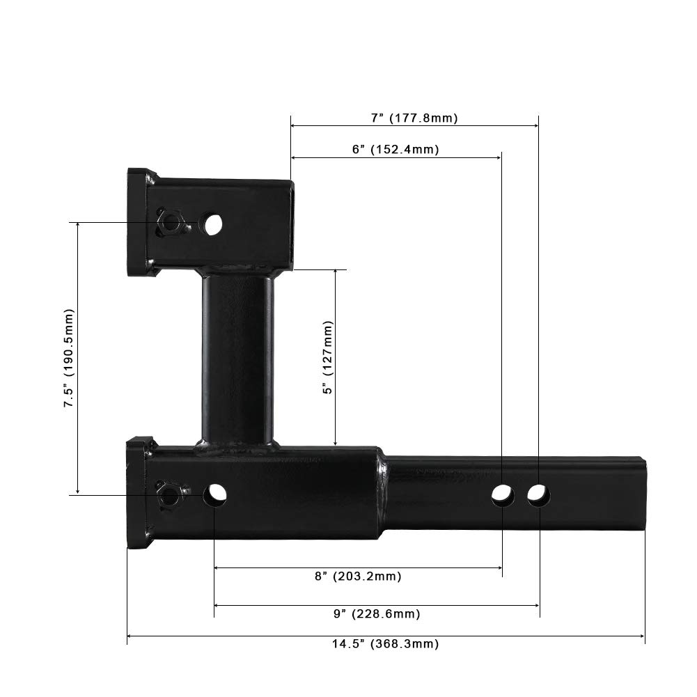 """Towever 84131 Trailer Dual Hitch Receiver Adapter Extender For Towing And 5/"""" Drop//Rise For Bicycle,Extra Long For Clearance."""