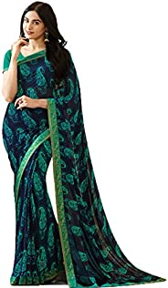 Mohit Creations Women's Partywear Printed Saree with Unstitched Bl