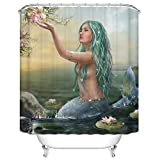 KANATSIU Green Hair Mermaid Lotus Fairy Tale Picture Shower Curtain 12 Plactic Hooks,100% Made Polyester,Mildew Resistant & Machine Washable,Width x Height is 60x72