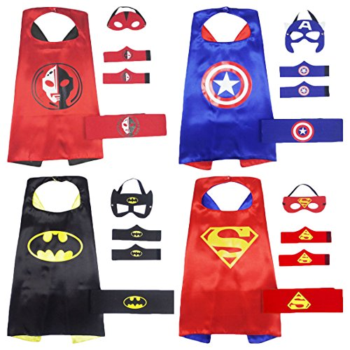 Xin Shi Halloween Superhero Satin Capes boy and Masks ,Dress Up child Toys (set 4 (as (Easy Halloween Costumes For 8 Year Olds)