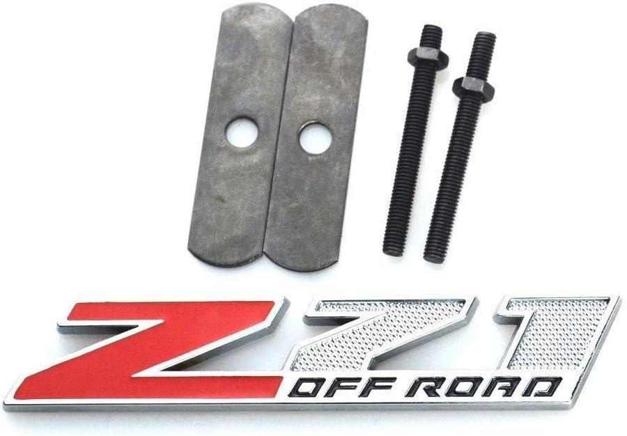 5 Inch Red Grille Z71 Off Road Emblem Badge for Gm Silverado 2500hd 3500hd Sierra Tahoe Chrome Black//Black