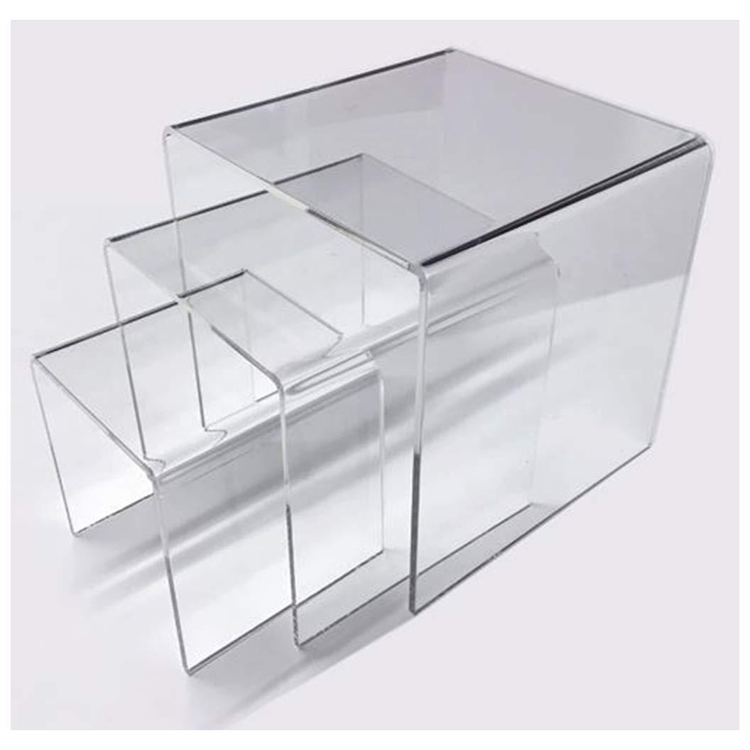 Acrylic Display Riser Set of 3 One Each 3x3x3 4x4x4