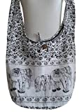PAPAYA SHOP Elephant Hippie Hobo Handbags Crossbody Messenger Bags Bohemian Shoulder Purses (17'', White)