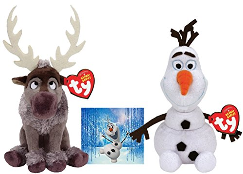 Ty Beanie Babies Sven Reindeer and Olaf Snowman Set of 2 Winter Holiday Christmas 2014 Toys with Bonus Frozen Olaf -