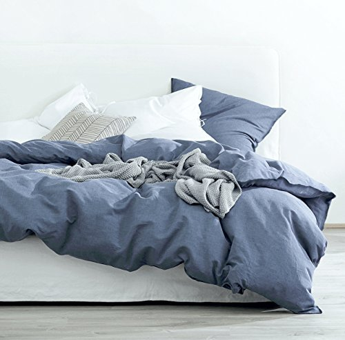 Eikei Washed Cotton Chambray Duvet Cover Solid Color Casual Modern Style Bedding Set Relaxed Soft Feel Natural Wrinkled Look (Queen, Blue Denim)