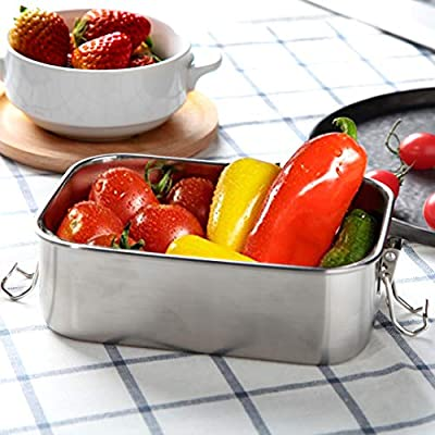 G.a HOMEFAVOR Stainless Steel Lunch Food Container with Lock Clips and Leakproof Design, 800ML Bento Box Lunch Container for Kids or Adults-Dishwasher Safe - Stainless Lid - All Stainless: Kitchen & Dining
