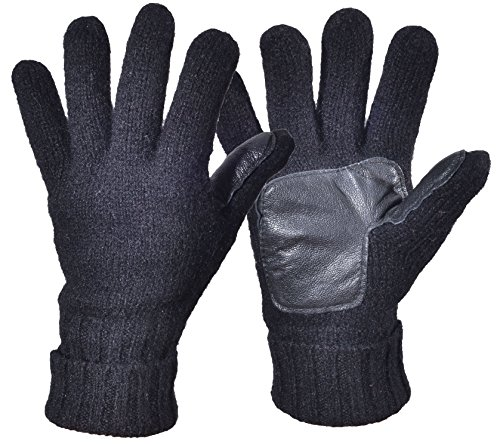 Ribbed Wool Gloves (Woogwin Men's Winter Wool Knit Gloves Thick Fleece Lined Warm Non Slip Gloves (Black))