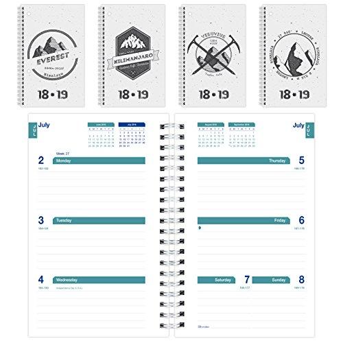 Brownline 2018-2019 Mountain Designs - Agenda escolar semanal, 8 x 5, vista semanal, julio de 2018 a julio de 2019, varios...