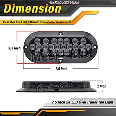 Meerkatt (Pack of 2) 6 Inch Oval Smoked Lens Red LED Trailer Marker Tail Light Brake Stop Rear Utility Bulbs Universal Cabin Car Lorry Pickup Tow Jeep Camper Truck 12V DC Shockproof Exterior Lamp DK12: Automotive