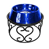 Platinum Pets Scroll Single Diner Stand with 6.25 Cup Embossed Non-Tip Stainless Steel Bowl, Sapphire Blue