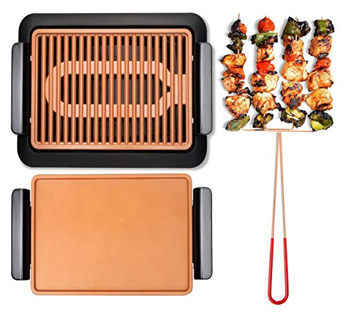 - GOTHAM STEEL Smokeless Electric Grill, Griddle, and Pitchfork, Indoor BBQ and Nonstick As Seen On TV (Original)
