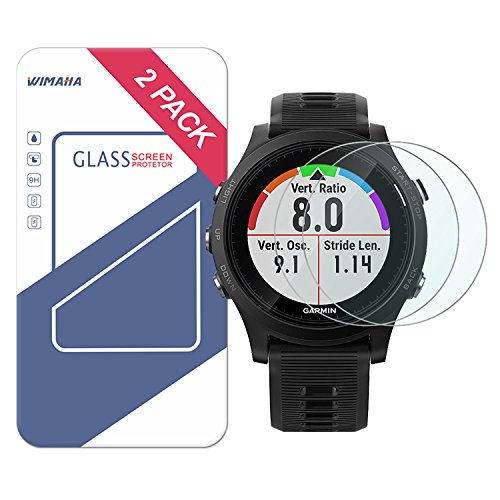 Garmin Forerunner 935 Screen Protector, Wimaha 2 Pack Tempered Glass Screen Protector for Garmin Forerunner 935 in 9H Hardness Full Coverage Screen Protector