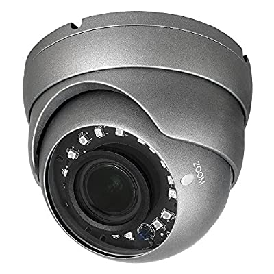 R-Tech RVD70B 1000TVL 4-in-1 AHD/CVI/TVI/Analog Outdoor Dome Security Camera with SMD High-Intensity IR LEDs for Night Vision - 2.8-12mm Varifocal from BV USA