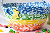 Boy Easter Basket, Handmade Kid's Basket, Cute Candy Bowl, Modern Easter Decoration, Artisan Quilted Organizer, Rainbow Easter Bucket