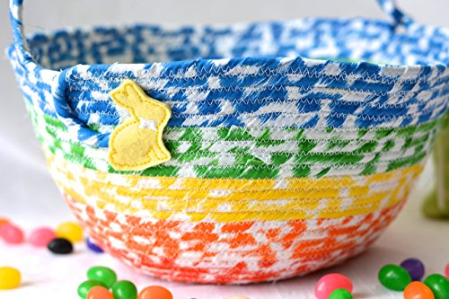 Easter Keepsake - Boy Easter Basket, Handmade Kid's Basket, Cute Candy Bowl, Modern Easter Decoration, Artisan Quilted Organizer, Rainbow Easter Bucket