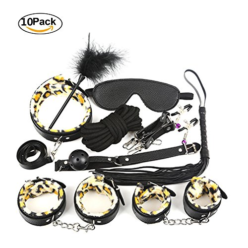 Mayli S&M Leather Leopard Bundle F-l-i-r-ting Suit for Couples S-e-x Bondage Restraining Straps Tools Include Goggles Collar Rope Whip Handcuffs Footcuffs,10Pack by Mayli