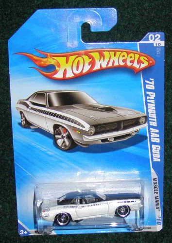 HOT WHEELS 2010 MUSCLE MANIA 02 OF 10 WHITE '70 PLYMOUTH AAR -