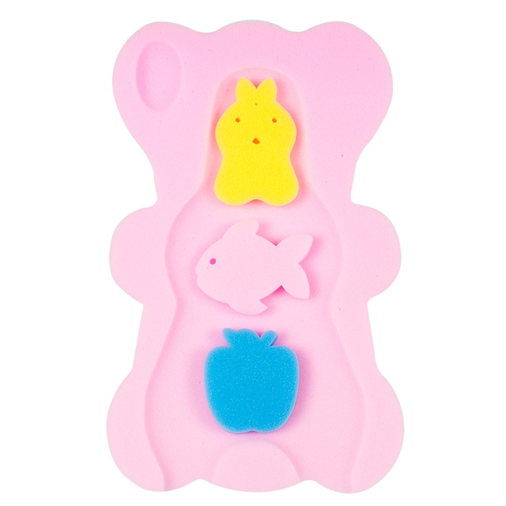 NIRVANA Comfy Baby Bath Sponge Cushion Anti Bacterial And Skid Proof Bath Mat (Pink)