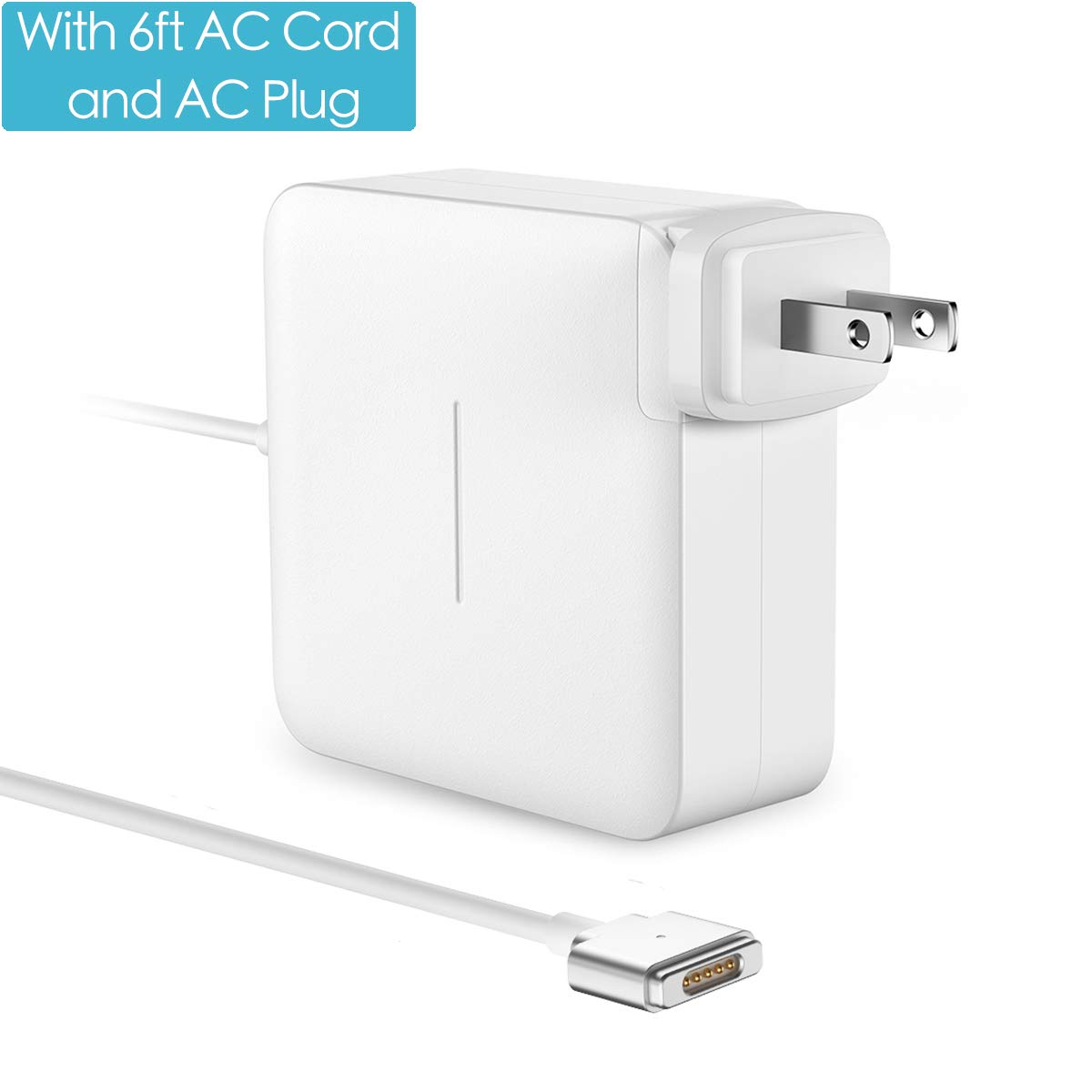 POWLAKEN Compatible MacBook Pro Charger 60W Mag Safe 2 T-Tip Power Adapter with 6FT AC Extension Cable, Charger Compatible with MacBook Air and for MacBooks 11'' & 13''(2012 Late) (white1)