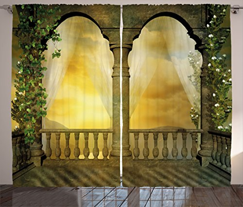 Landscape Curtains by Ambesonne, Mystic Balcony Fairytale Decor with Floral Swirl Antique Ancient Design Art Print, Living Room Bedroom Window Drapes 2 Panel Set, 108 W X 84 L Inches, Multicolor