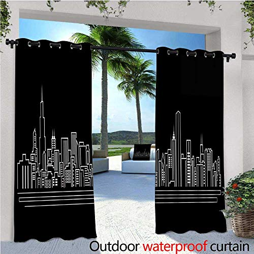 cobeDecor Chicago Skyline Outdoor Blackout Curtains Line Abstract Style Urban Silhouette of Popular American Town Office Print Outdoor Privacy Porch Curtains W72 x L108 Onyx White -
