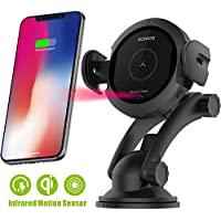 Wireless Car Charger Mount - Qi Fast Wireless Charging Car Mount,Air Vent Phone Holder,Charging for iPhone X 8/8 Plus Samsung Galaxy S8/S9.Infrared Motion Sensor Automatic Open and Clamp(10W-Fast)
