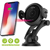 Wireless Car Charger Mount - Qi Fast Wireless Charging Car Mount,Air Vent Phone Holder,Charging for iPhone X 8/8 Plus Samsung Galaxy S8/S9.Infrared Motion Sensor Automatic Open and Clamp(Safe Drive)